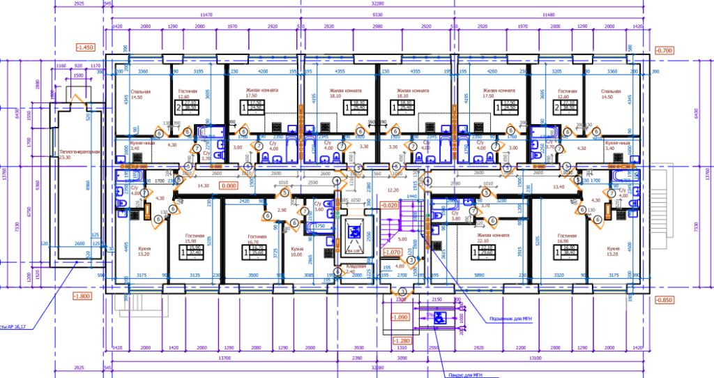 """Планировка первого этажа ЖК """"Сосновый бор"""""""