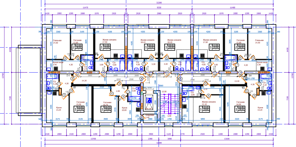 Планировки второго-пятого этажей