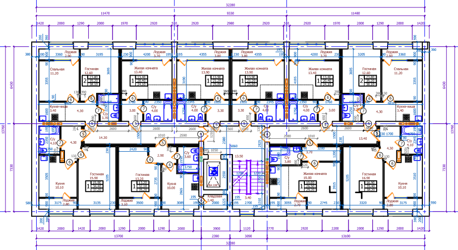 """Планировка шестого этажа ЖК """"Сосновый бор"""""""
